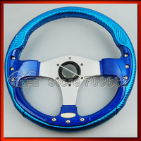 Original Logo 13 inch 340mm PVC Black Carbon Fiber Style Red Stitch Deep Dish Auto Steering Wheel