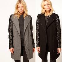 European Fashion 2014 New Winter Coat Women Brand Wool Coat Long Sleeve PU Sleeve Zipper Overcoat in Stock