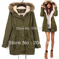 New fashion green women winter jacket coat hooded warm parka women
