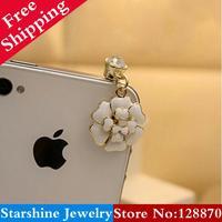Min Order $5 Mix PL03903 4s camellia cell phone plug earphones dust