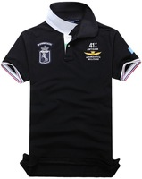 Air Force One Men Short Sleeve Men's Lapel Embroidered Short-sleeved