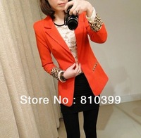 Long Sleeve One Button Women's Fashion Blazer Suits Ladies Jacket Coat Outerwear Black/Red/White Colors Freeshipping#JA017
