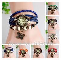 2014 New Genuine Leather  Women Bracelet Watch Vintage Girls Cute Butterfly Watch Drop Shipping Hot Sales