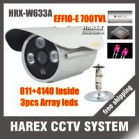 "1/3"" Sony Effio-e 700TVL  960H 3pcs Array IR LEDS outdoor/indoor waterproof CCTV Camera with bracket.Free shipping"