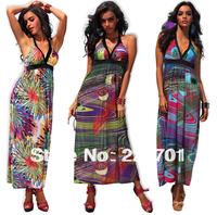 2013 summer new arrive fashion beautiful beach dress high waisted halter V neck ladies  printed maxi dress long