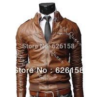 New Korean Style Men's Slim Zipper Designed PU Leather Coat Jacket 2 Colors/L XL XXL XXXL 7717