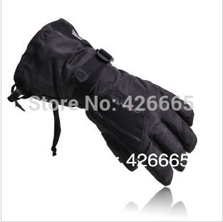 man Winter Ski sport waterproof gloves double gloves black -30 degree warm riding gloves snowboard Motorcycle gloves