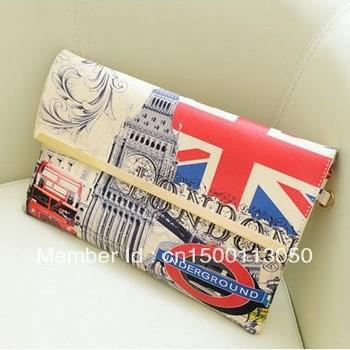 2013 new British flag print fashion women envelope clutch bag vintage retro handbags brand designer shoulder bags lady totes hot