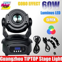 2Pcs/Lot Free Ship 60W Led Moving Head Spot Light 15DMX Ch,3-Facet Prism,2Gobo Wheel,1Color Wheel 60W LED Moving Light 90V-240V