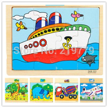 15*17cm Kids cartoon wooden Jigsaw puzzle brain teaser 12 pcs puzzle Car Ship Plane Giraffe Panda Educational Toys for Children