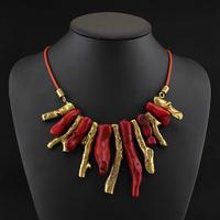 2014 Unique Design Vintage Gold Red Coral Necklaces & Pendants Fashion Retro Shoker Bib Statement Necklace Women Jewelry