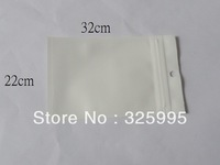 1000pcs/lot 22X32CM ZipLock White Clear Plastic Packaging Retail Hanging Bags 22X32CM for phone cover bags Free shipping