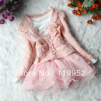 2013 new spring girl lace dress outerwear dress for girls hot selling girl clothes 2color