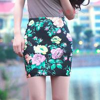 Women's Short Pencil Skirt w/ Leopard Flower Print Fashion Skirt 2014 Free Shipping
