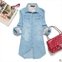 Hot seliing New autumn outfit 2014 ms pearl clasp long-sleeved women thin denim shirt shirt plus-size coat XS-XXXL