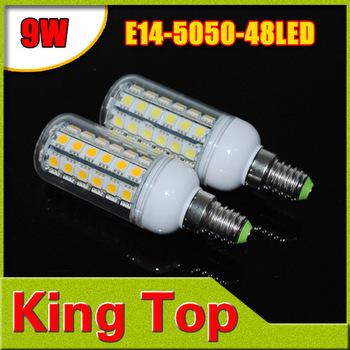 Christmas light  E14 9W 48LED lampada led AC220V LED Spot light 5050 SMD Corn Bulb Lamp for home lighting with CE ROHS 4Pcs/Lot
