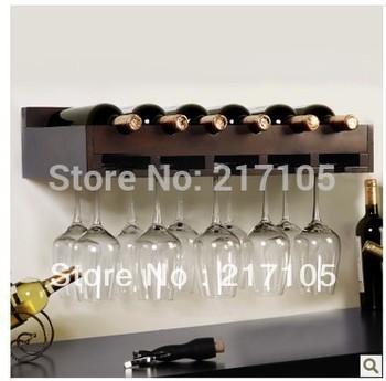 Free shipping wood wine rack shelf creative living room wall wine rack decorative glass shelf Continental Shelf Wine