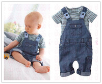 2013 strip short sleeve T-shirt and denim suspenders sets for boys shorts pants children's clothing twinset F8060