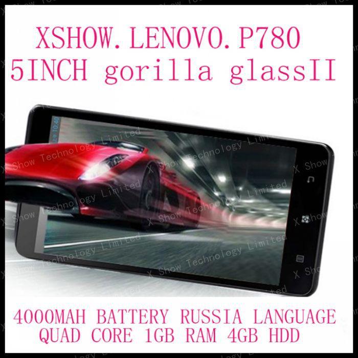 black white Lenovo P780 gorilla glass phone MTK6589 quad core 1.2G 4000mAh 1GB/4GB Camera 8.0MP 3G Smart phone 56 language(China (Mainland))