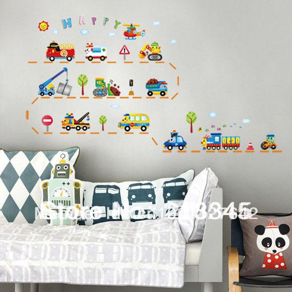 [Saturday Mall - Kid favorite early childhood cartoon car stickers nursery children's room decor mural wall stickers 4085(China (Mainland))