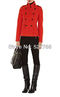 2013 Women MODERN MILITARY MOLESKIN JACKET Red OL commuter collar double-breasted slim long-sleeved jacket Free shipping