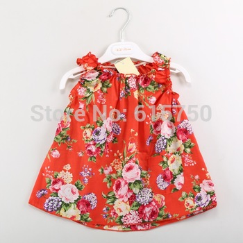 Girls Blouses with Floral Print Sleeveless O-Neck Casual Children Shirts Brand Regular 100% Cotton Baby Kids Blouse For Girl