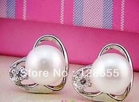 Natural freshwater pearl  heart-shaped earrings pearl earrings  Free shipping