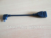 FreeShipping USB 2.0 A female Type A to 5pin 90 degree microusb B Male adapter Cord Cable