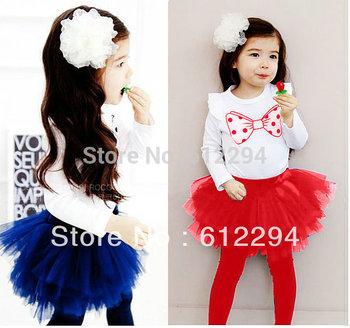 Autumn 2014 girls clothes 2pcs set (Long sleeve girls t-shirts+ tutu legging) baby girl casual conjunto de roupa ON Sales!