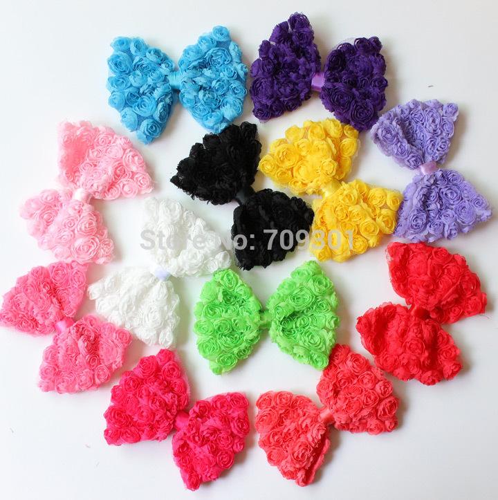 "Free shipping 36pcs/12colors,wholesale cheap 4.5"" Large vintage shabby rosette hair bows Petite chiffon rose bow DIY.(China (Mainland))"