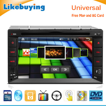2 Din 6.2 inch Car DVD GPS Car Radio for Universal Car with Bluetooth, IPOD Support, Aux Function, optional 3G WIFI, Free 8G map