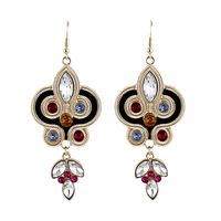 2014 Latest Colorful Shiny Imitation Gemstone Alloy Drop Earrings for Women Wholesale Gifts