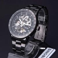 Free Shipping SINOBI Retro Men Black Full Steel High Quality Mechanical Hnad Wind Watch Male Fashion Analog Dress Wristwatch Hot