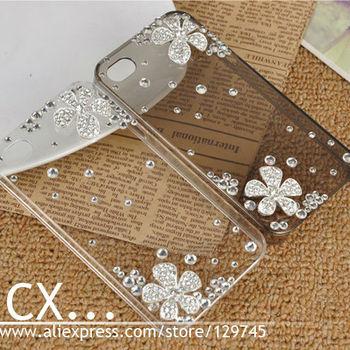 New 2014 Crystal Shiny Rhinestones Cover Colorful White Silver Flower Design Luxury Swarovski Diamond Case For iphone4 4G 4S
