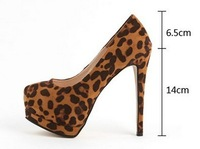 women  sexy Leopard platform pumps  party shoes sapatos leopard Animal Print heels height 14cm