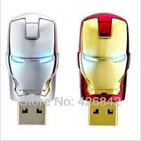 Wholesale Hot sale Fashion Avengers Iron Man LED Flash 2GB-64GB USB Flash 2.0 Memory Drive Stick Pen/Thumb/Car Ub263
