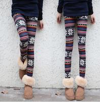 Hot!! New Women Leggins Ankle Length Christmas Leggings Nordic Deer Knitted Aztec Leggings