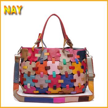 New Real Leather Fashion Luxury Lady Ladies Women Woman  Handmade Patchwork Shoulder Handbag Bag