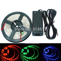 Waterproof  5m 150 LED 5050 SMD 12V LED strip flexible light RGB WarmWhite Cool White Blue Green Red LED strip + 12V DC Adater