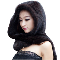 Winter thermal mink fur hat scarf Women mink hair knitted hat scarf one piece warm Muffler for women