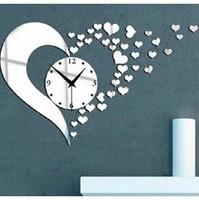 Free shipping 3D diy mirror wall clocks lovely hearts vintage bedroom wall art decor unique items  room art clocks hearts z046