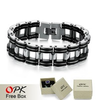 OPK JEWELRY Free Shipping! Genuine Silicone + steel Bracelet, Big Cuff Men Bracelet , width 18.6mm infinity bracelet, 811