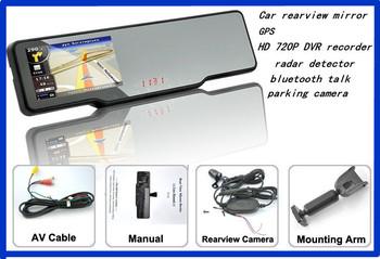 Android system car Rearview Mirror 4.3 Inch HD GPS Navigator+ Bluetooth headset+AV+DVR