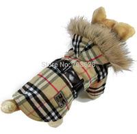 Yellow Red Fashion Brand Plaid Waist Coats Pet Dog Winter Windbreaker Small Dogs Warm Jackets Puppy Clothes Apparel S M L XL