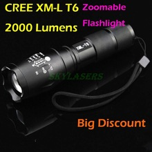 E17 CREE XM-L T6 2000Lumens High Power Zoomable LED Flashlight Torch light , Use 3xAAA or 1x18650 - Free shipping(China (Mainland))