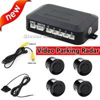 Video Parking Radar 4 Sensor Rear View Backup Kit Sound Buzzer Alert Alarm Free Shipping