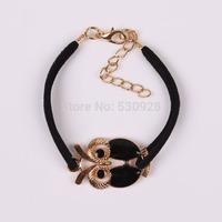 Min. order $10  new arrival fashion leather Korean retro owl bracelets 2014 cheap party jewelry