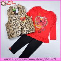 Wholesale 4 sets/lot 2013 New Arrival Girls Autumn 3 Piece Set,Yellow Leopard Vest+Red Shirt+Black Legging Set Fashion Elmo