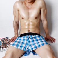 2014 New Arrival 100% Cotton Men's Underwear Beach Plaid Style Boxer  Home Shorts