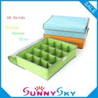 Free Shipping 16 Grids New 2013 Bamboo Charcoal home Storage Fabric Box for underwear bra necktie socks organizer